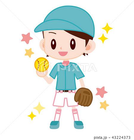 ソフトボール選手 かわいい女の子のイラスト素材 43224373 Pixta