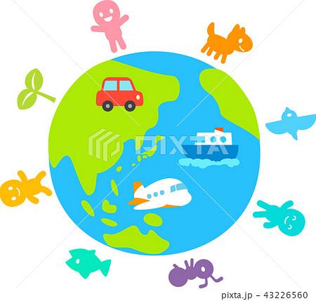 地球と生き物のデフォルメイラスト 43226560