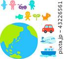 地球と生き物のデフォルメイラスト 43226561