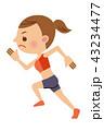 陸上 走る 女性のイラスト 43234477