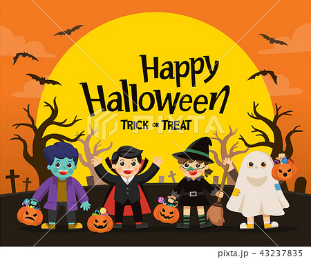 Children Trick or Treating on Halloween. 43237835