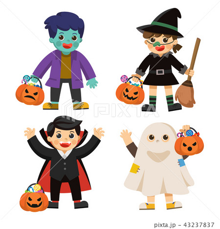 Children in colorful costumes and pumpkin basket. 43237837