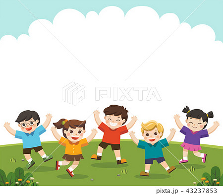 Happy children are jumping on the park. 43237853