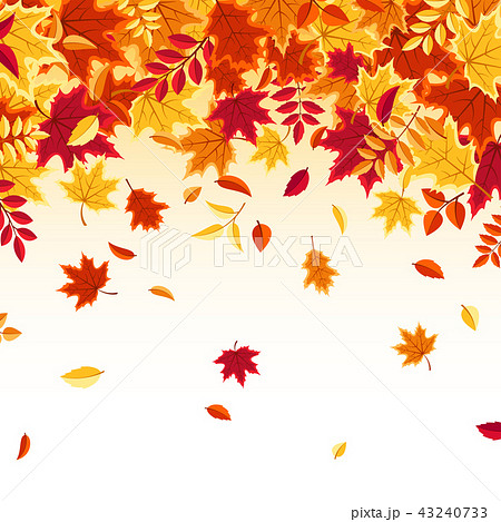 autumn falling leaves nature background with red orange yellow
