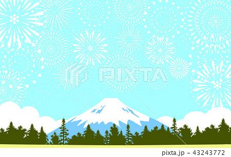 富士山 花火 風景 43243772
