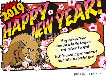 2019アメコミ風年賀状「猪突猛進」ハッピーニューイヤー 英語添え書き付き 43245345