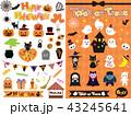ハロウィン ハロウィーン オレンジのイラスト 43245641