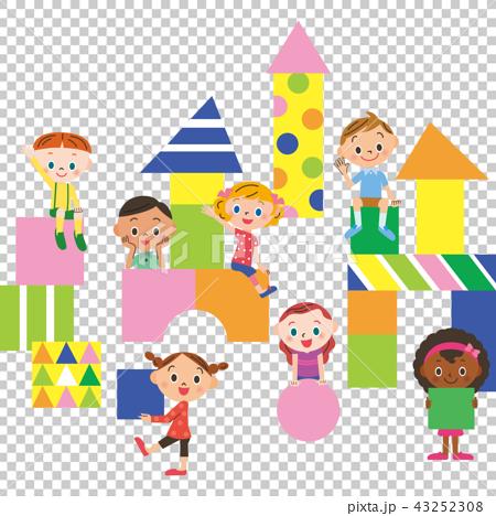 孩子们玩积木 43252308