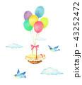 風船と赤ちゃんと青い鳥 43252472