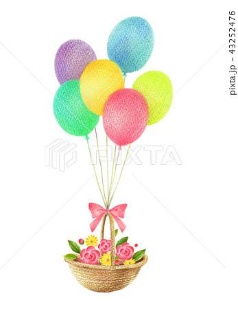 風船と花かご 43252476