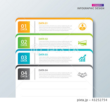 infographics tab paper index with 4 data templateのイラスト素材