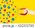 U字型の磁石を持つ手のイラスト|SNSとマグネットの吸引力|Magnet illustration 43253795