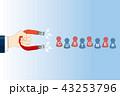 U字型の磁石を持つ手のイラスト|ビジネスイメージ マグネット|Magnet illustration 43253796