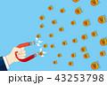 磁石を持つ手とお金を吸引するイラスト|ビジネスイメージ |Magnet illustration 43253798