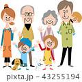 家族 ペット 三世代家族のイラスト 43255194