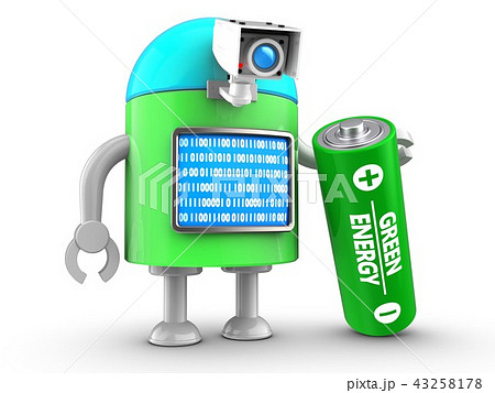 3d illustration of robot with with battery 43258178