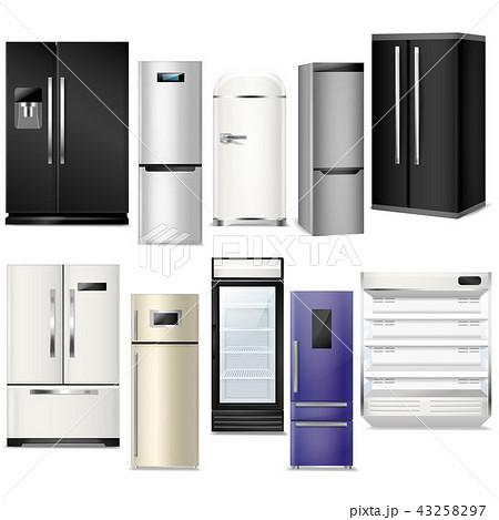 Fridge vector refrigerator or freezer and refrigeratory equipment in kitchen illustration set of 43258297