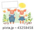 ブタ 動物 標識のイラスト 43258458
