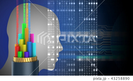 3d abstract with cable head silhouette  43258890