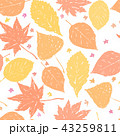 Autumn ink hand drawn leaves seamless pattern 43259811