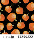 Vector seamless pattern with pumpkin crop on black background 43259822