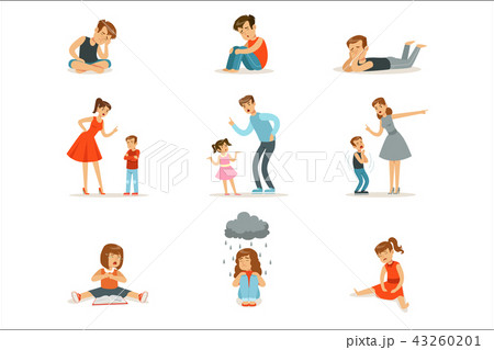 Mutual relations of parents and children, mom and dad scream and scold their children, negative 43260201