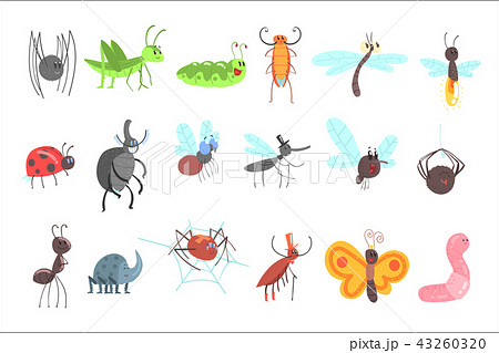 Cute Friendly Insects Set With Cartoon Bugs, Beetles, Flies, Spiders And Other Small Animals 43260320