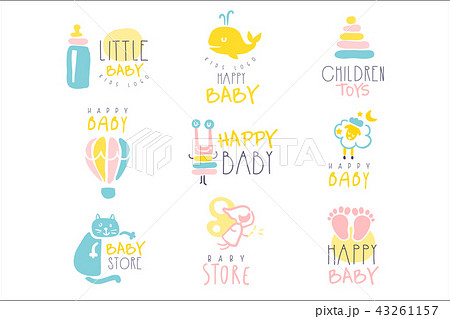 kids shop promo signs series of colorful vector design templates