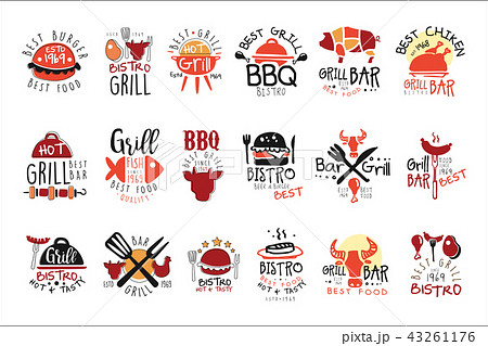 best grill bar promo signs set of colorful vector design templates