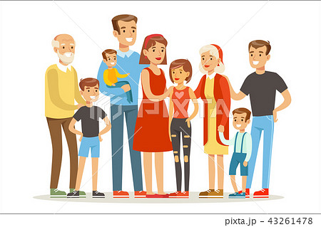 Happy Big Caucasian Family With Many Children Portrait With All The Kids And Babies And Tired 43261478