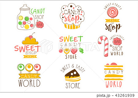 candy shop promo signs series of colorful vector design templates