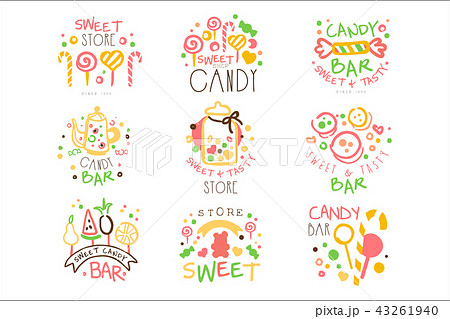 candy shop promo signs set of colorful vector design templates with