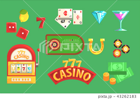 gambling and casino night club set of symbols including cards