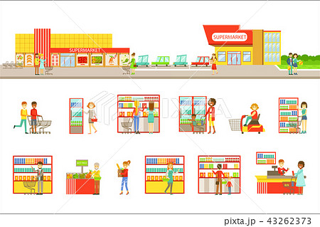 Supermarket Exterior And People Shopping Set Of Illustrations 43262373