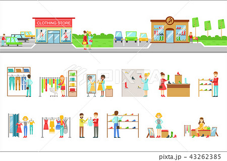 Clothing Store Exterior And People Shopping Set Of Illustrations 43262385