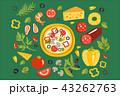 ピザ ピッツァ イタリアのイラスト 43262763