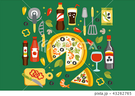 Pizza Preparation And Eating Elements, Italian Cuisine Dish With Associated Utensils, Drinks Sauces 43262765