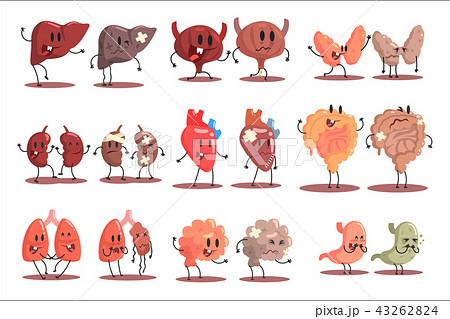 Human Internal Organs Healthy Vs Unhealthy Set Of Medical Anatomic Funny Cartoon Character Pairs 43262824
