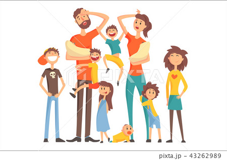 Happy Caucasian Family With Many Children Portrait All The Kids And Babies Tired Parents Colorful 43262989