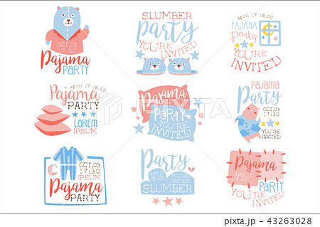 pink and blue girly pajama party invitation templates set inviting