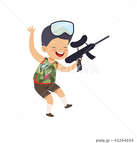 Cute happy little boy playing paintball with gun vector Illustration on a white background 43264034