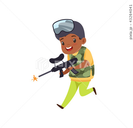 Cute little african american boy playing paintball with gun wearing helmet and vest vector 43264041