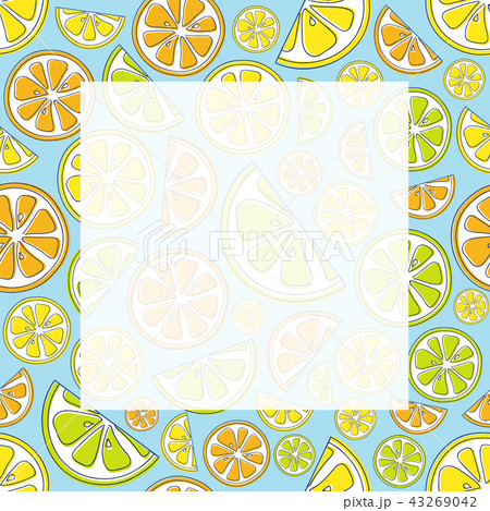 Poster with citrus fruits and copyspace. Vector. 43269042