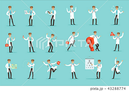 Doctor Work Process Set Of Hospital Related Scenes With Young Medical Worker Cartoon Character 43288774