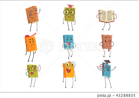 Cute Humanized Book Emoji Characters Representing Different Types Of Literature, Kids And School 43288835