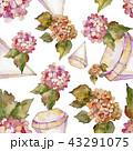 花 水彩画 パターンのイラスト 43291075