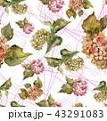 花 水彩画 パターンのイラスト 43291083