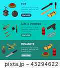 Weapons 3d Banner Horizontal Set Isometric View. Vector 43294622