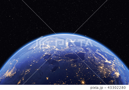 Planet earth with stars, global model isolated on black backgrou 43302280