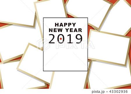 2019年賀状「大盛りフォトフレーム」ハッピーニューイヤー 手書き文字スペース空き